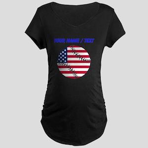 Custom American Flag Baseball Maternity T-Shirt