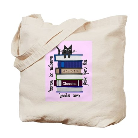 home is where cat and books are PINK Tote Bag