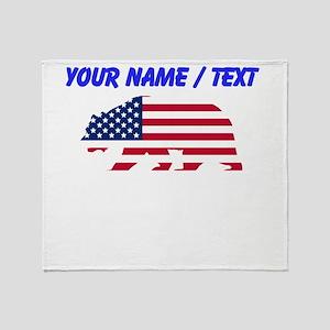 Custom American Flag California Bear Throw Blanket