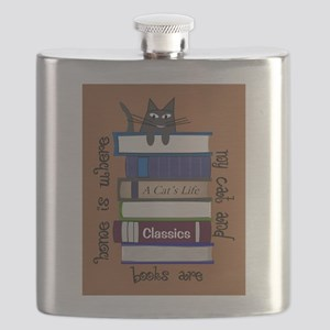 home is where cat and books are brown Flask