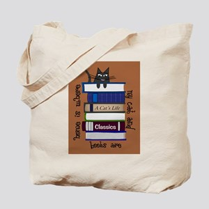 home is where cat and books are brown Tote Bag