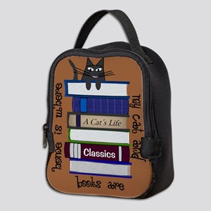 home is where cat and books are brown Neoprene Lun