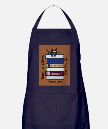home is where cat and books are brown Apron (dark)