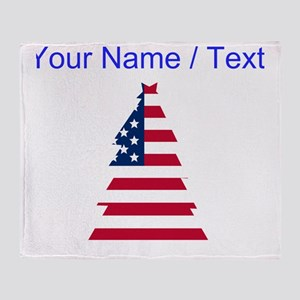 Custom American Flag Christmas Tree Throw Blanket