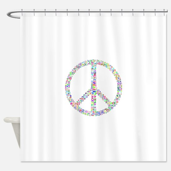 Words of Peace in Sign Shower Curtain