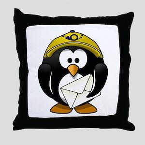 Mail Man Penguin Throw Pillow