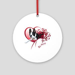Valentine Boston Terrier Ornament (Round)