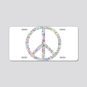 Words of Peace in Sign Aluminum License Plate