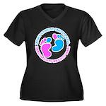 baby Women's Plus Size V-Neck Dark T-Shirt