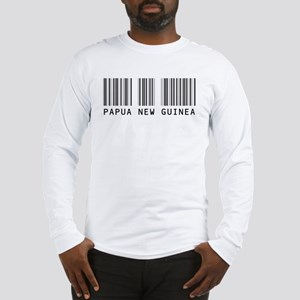 PAPUA NEW GUINEA Barcode Long Sleeve T-Shirt
