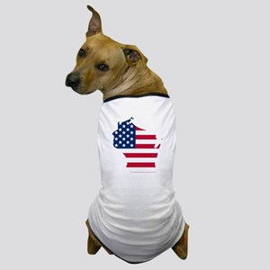 Wisconsin American Flag Dog T-Shirt