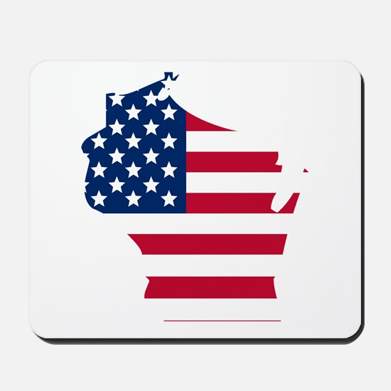 Wisconsin American Flag Mousepad