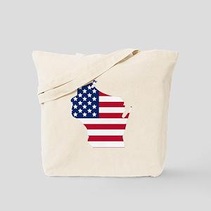 Wisconsin American Flag Tote Bag
