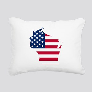 Wisconsin American Flag Rectangular Canvas Pillow