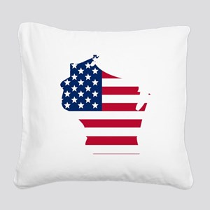 Wisconsin American Flag Square Canvas Pillow