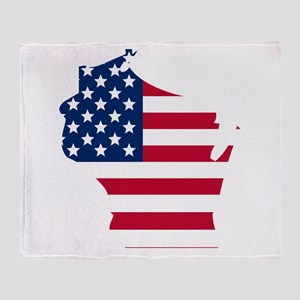 Wisconsin American Flag Throw Blanket