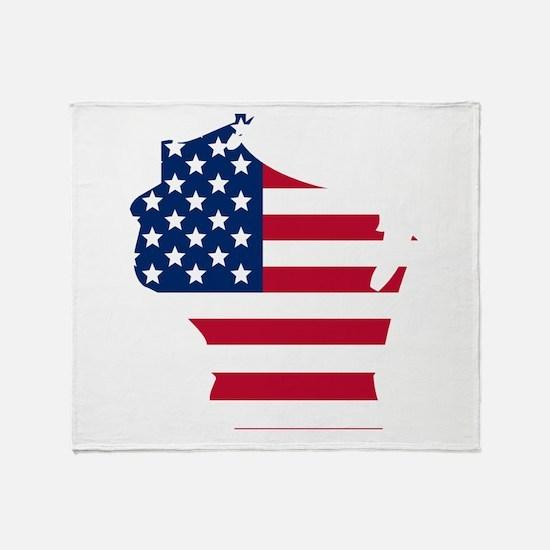 Wisconsin American Flag Throw Blanket