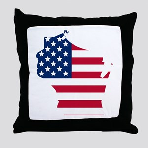 Wisconsin American Flag Throw Pillow