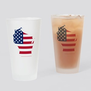 Wisconsin American Flag Drinking Glass