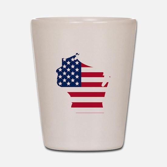 Wisconsin American Flag Shot Glass