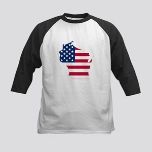 Wisconsin American Flag Baseball Jersey