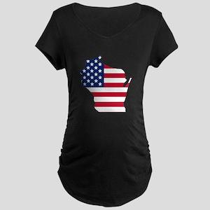 Wisconsin American Flag Maternity T-Shirt