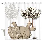 Cute Elephant Baby Shower Curtain