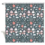 Funky Cats and Birds Shower Curtain