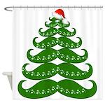 Mustache Christmas Tree Shower Curtain