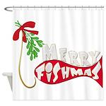 Merry Fishmas Mistletoe Shower Curtain