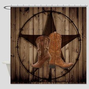 cute western cowgirl Shower Curtain