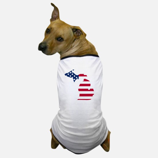 Michigan American Flag Dog T-Shirt