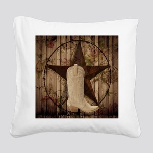 cute western cowgirl Square Canvas Pillow