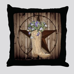 cute western cowgirl Throw Pillow