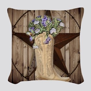 cute western cowgirl Woven Throw Pillow