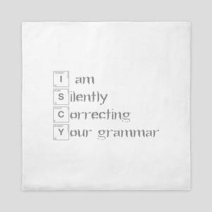 correcting-grammar-break-gray Queen Duvet