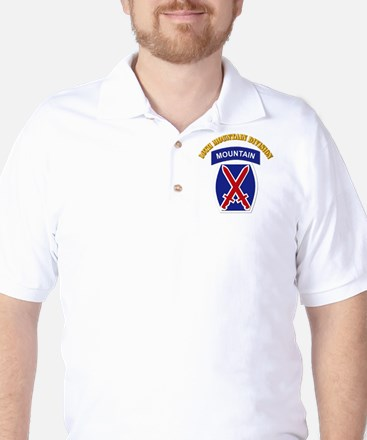 SSI - 10th Mountain Division with Text Golf Shirt