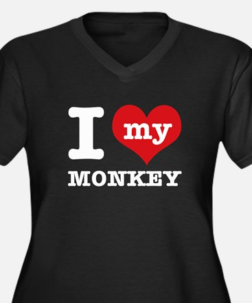 I love my MONKEY Women's Plus Size V-Neck Dark T-S
