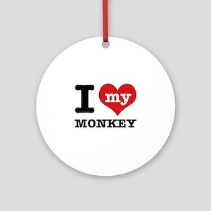 I love my MONKEY Ornament (Round)