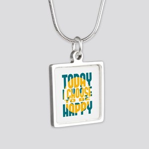 Today I Choose to be Happy Silver Square Necklace