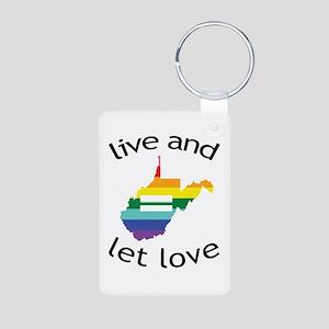 West Virginia live love blk font Keychains