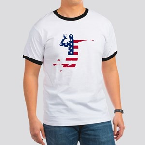 American Flag Volleyball Spike T-Shirt