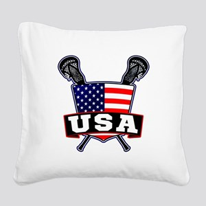 Team USA Lacrosse Logo Square Canvas Pillow