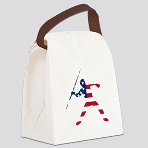 American Flag Javelin Throw Canvas Lunch Bag