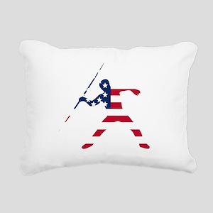 American Flag Javelin Throw Rectangular Canvas Pil