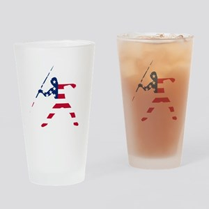 American Flag Javelin Throw Drinking Glass