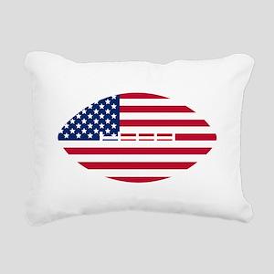 American Flag Football Rectangular Canvas Pillow
