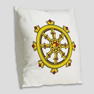 Dharmachakra Wheel Burlap Throw Pillow