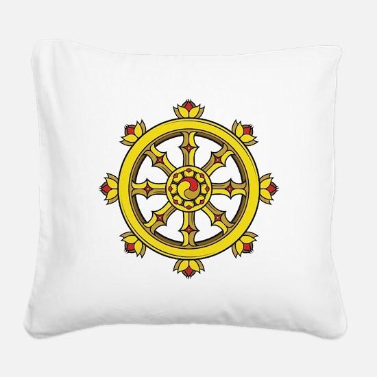 Dharmachakra Wheel Square Canvas Pillow