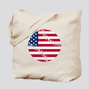 American Flag Baseball Tote Bag